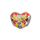 Подвеска-шарм Сердце с бабочкой с оранжевой и желтой эмалью, серебро