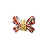 Пдвеска-шарм Бант с красной эмалью, серебро с позолотой