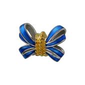 Подвеска-шарм Бант с синей эмалью, серебро с позолотой