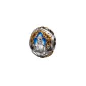 Подвеска-шарм Будда с голубой эмалью, серебро с позолотой