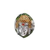 Подвеска-шарм Будда с эмалю, серебро с позолотой