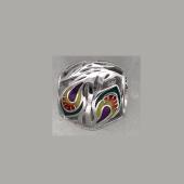 Подвеска-шарм Перо Жар-птицы с цветной эмаль, серебро