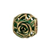 Подвеска-шарм Роза с зеленой эмалью, серебро с позолотой