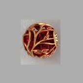Подвеска-шарм с растительным орнаментом и эмалью, серебро с позолотой