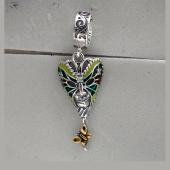 Кулон-шарм Венецианская Маска с цветной эмалью и фианитами, серебро с позолотой