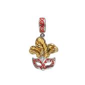 Подвеска-шарм Маска с перьями и красной эмалью, серебро с позолотой