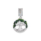 Подвеска-шарм Дерево с зеленой эмалью и фианитами, серебро с позолотой