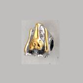 Кулон-шарм собака Бассет-хаунд с фианитами, серебро с позолотой