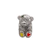 Подвеска-шарм Мишка с желтой и красной эмалью и фианитами, серебро