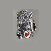 Кулон-шарм медвежонок Тедди с фианитами и эмалью, серебро