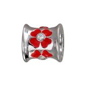 Подвеска Цветы с красной эмалью и фианитами, серебро