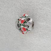 Кулон Шарм Божьи Коровки с красной и зеленой эмалью, серебро