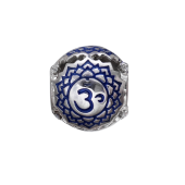Подвеска-шарм с молитвой ОМ с синей эмалью и фианитами, серебро