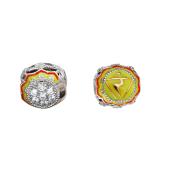 Подвеска-шарм Манипура с фианитами, эмалью и позолотой, серебро