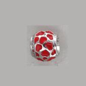 Подвеска-шарм Сердца с красной эмалью и фианитами, серебро