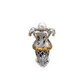 Подвеска-шарм Шут с белым жемчугом, серебро с позолотой