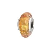 Подвеска-шарм с желтым стеклом Мурано, серебро
