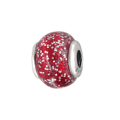 Подвеска-шарм с красным стеклом Мурано с блестками, серебро