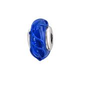 Подвеска-шарм из фактурного синего стекла Мурано, серебро