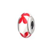 Подвеска-шарм с красными цветами из стекла Мурано, серебро