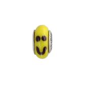 Кулон Шарм Смайл с желтым муранским стеклом, серебро