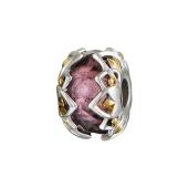 Подвеска-шарм с розовым стеклом Мурано и ажурным узором по бокам, серебро с позолотой