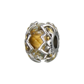 Подвеска-шарм с желтым стеклом Мурано и ажурным узором по бокам, серебро с позолотой