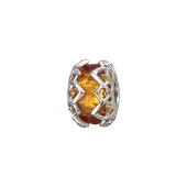 Кулон Шарм с золотистым муранским стеклом, серебро с позолотой