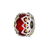 Подвеска-шарм с красным стеклом Мурано и ажурным узором по бокам, серебро с позолотой