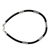 Каучуковый браслет с греческим рисунком из серебра