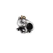 Подвеска-шарм Царевна-лягушка, серебро с чернением и позолотой
