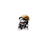 Подвеска-шарм Мишка в колпачке, серебро с позолотой и чернением