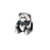 Кулон шарм, подвеска для браслета Мишка с сердцем, серебро с чернением