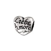 Подвекса-Шарм Сердце с надписями, серебро с чернением