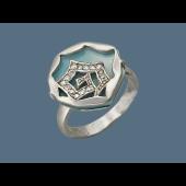 Кольцо Море с перламутром и фианитами, серебро