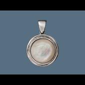 Кулон круглый с перламутром, серебро