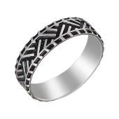 Кольцо Протектор шины с черной эмалью из серебра