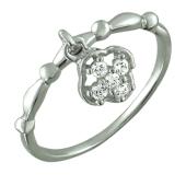 Кольцо с подвеской с фианитами, серебро