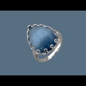 Кольцо Капля с кошачьим глазом и фианитами из серебра