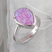 Кольцо Капля с синтетическим розовым опалом из серебра