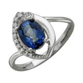 Кольцо с кварцем Мистик и фианитами из серебра