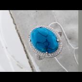 Кольцо с прессованной бирюзой (кораллом) и фианитами, серебро