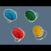 Кольцо с бирюзой (жадеитом, кораллом, хризопразом) и фианитами, серебро