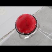 Кольцо с кораллом и черными фианитами, серебро