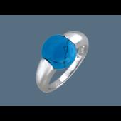 Кольцо Шар с прессованной бирюзой и кораллом, серебро