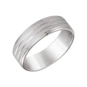 Кольцо обручальное с дорожками из серебра