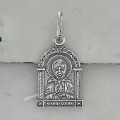 Матрона Святая Московская в прямоугольном окладе, серебро с чернением