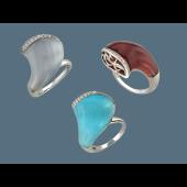Кольцо с кошачьим глазом и фианитами, серебро