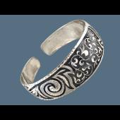 Браслет-обруч с узорами, серебро с чернением