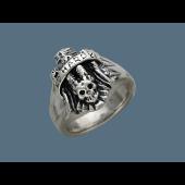 Кольцо Череп без вставок, серебро